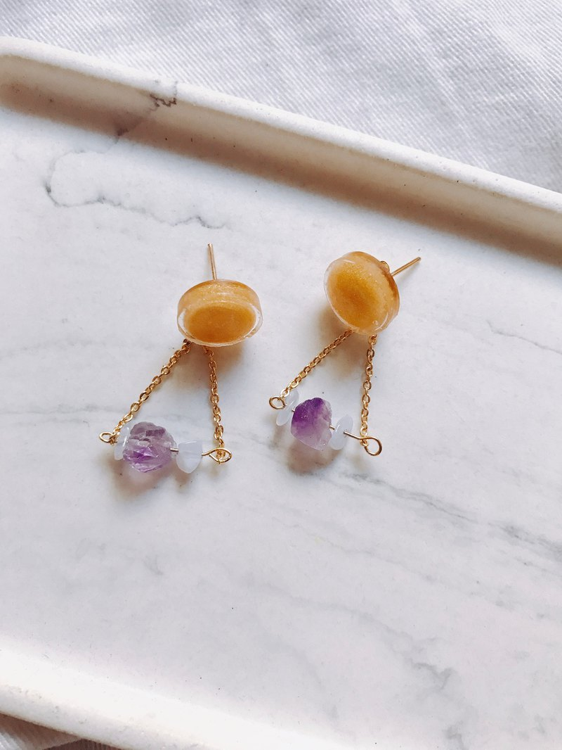 Full Moon Amethyst Fine-Chain Earrings