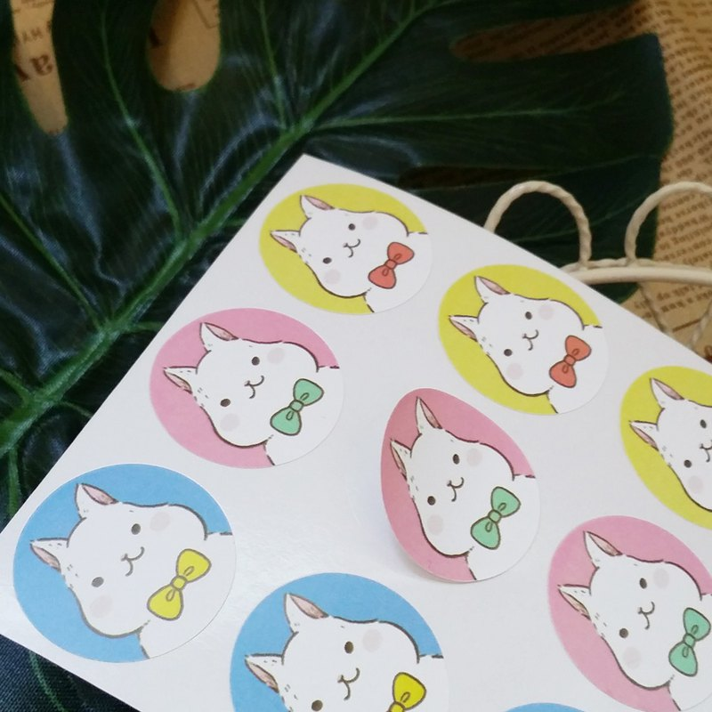 Big white rabbit wearing a bow tie small round stickers / 2 large a total of 24 small round stickers