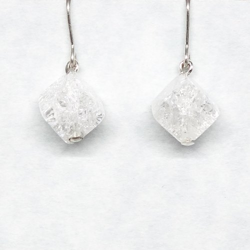 1 crystal cube earrings【Pio by Parakee】自然水晶耳環