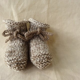 6M ~ wool cotton baby bootie beige