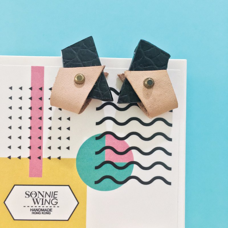 Sonniewing's Geometric Stud Leather Earrings