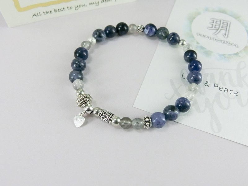 Classical temperament beaded natural stone silver bracelet │ blue gray 玥 unicorn