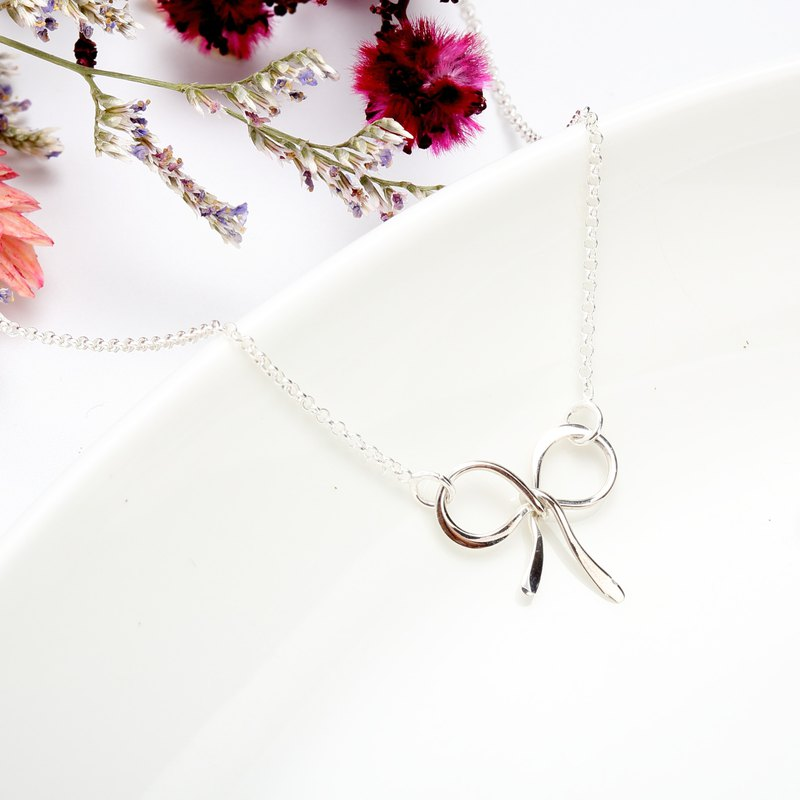 Bow s925 Sterling Silver Necklace Valentine's Day gift