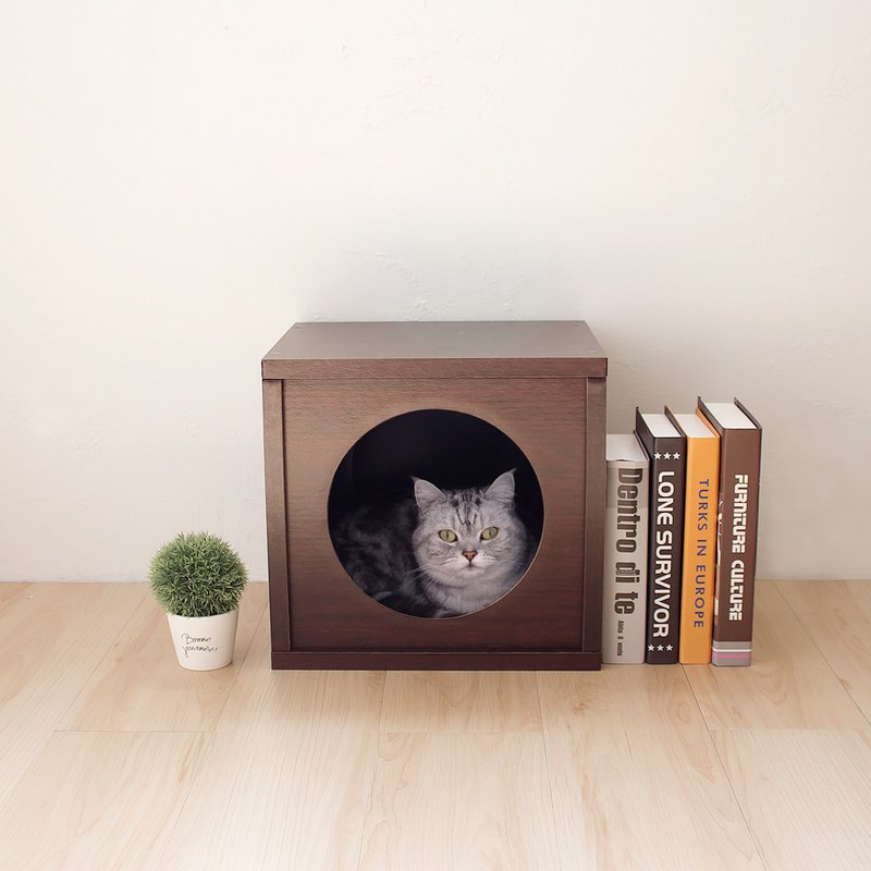 [Ange home] clever cat house | peekaboo cat cabinet (walnut)