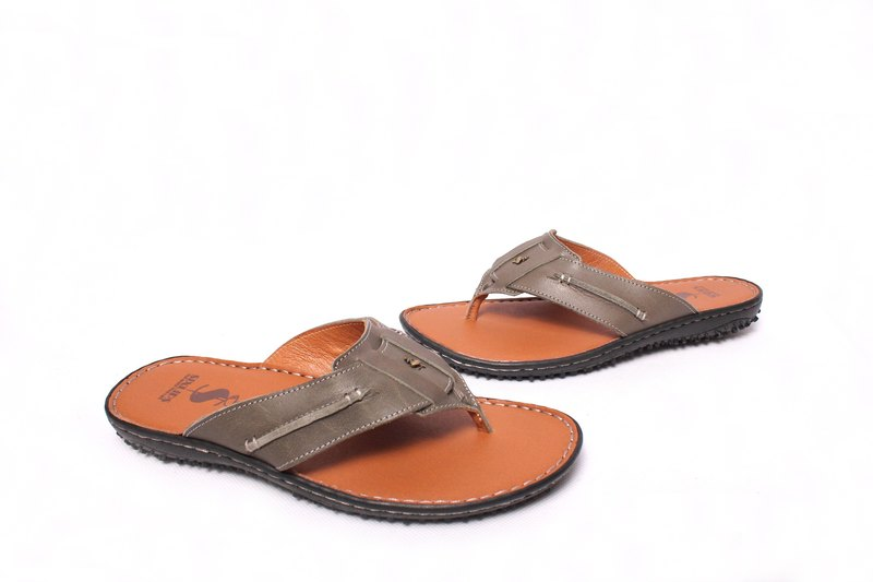 Filial Piety Temple Good damping fashion flip sandals and slippers olive green leather hand-stitched