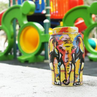 [2018 New] Summer Painted Elephant Tea Pot (Including English Breakfast Tea/40 Hot-Sealed Tea Bags)