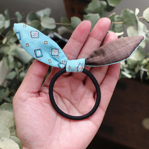 Hand made Bunny ears bow hair tie - The Bricks and soil