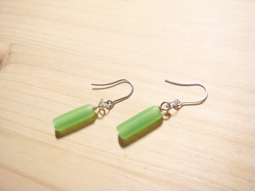 Grapefruit forest handmade glass - all-match earrings emerald green - round long column (can be clipped to increase the price increase)