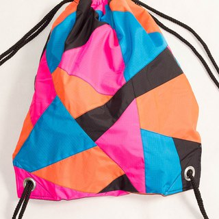 Pink Orange Patchwork Drawstring Waterproof Backpack
