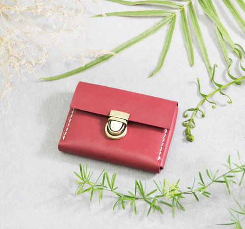 Morishita SENSIASHU / Card double purse / Red wine / Italian yak leather