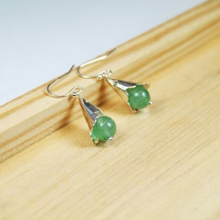 【Collection of gold lake】 wisteria earrings green silver section | clip-on earrings earrings can be changed for sterling silver needles | Dongling jade | brass silver | natural stone earrings, Chinese ancient style jewelry E4