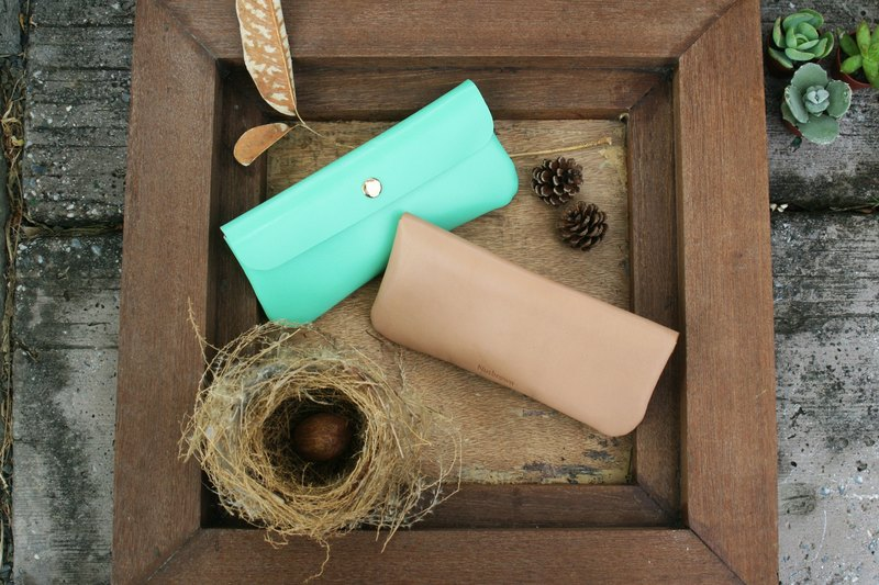 Handmade leather - pencil case pencil case - cappuccino