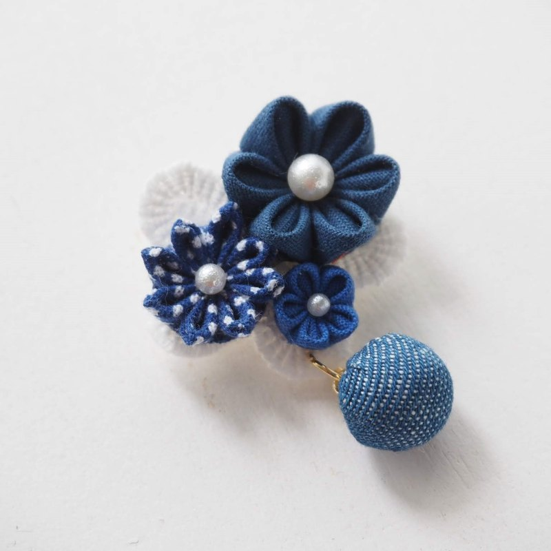 Deep Blue Fabric Floral Corsage, Brooch custom