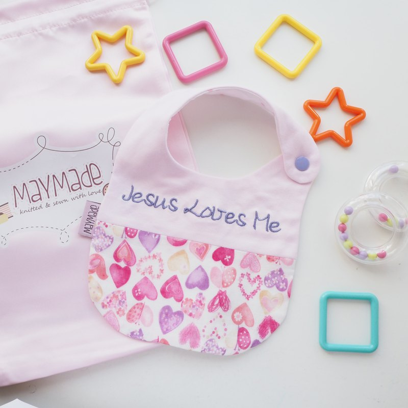 MayMade Handmade Name Embroidery Baby Bib - Pink Hearts Style