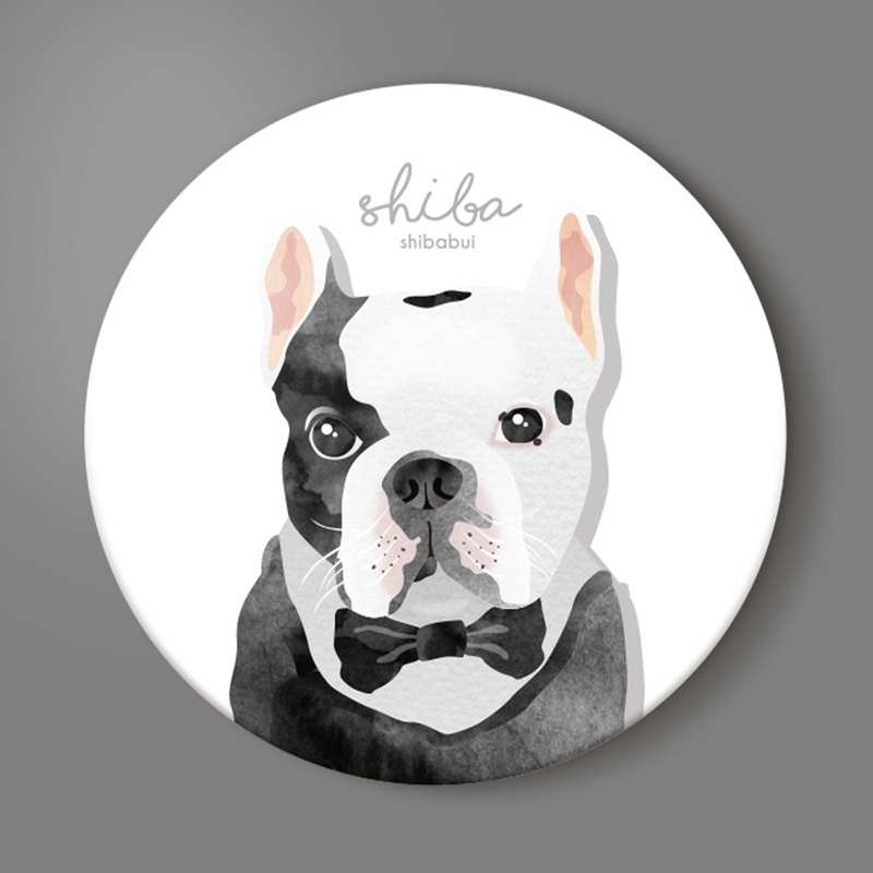 Black and white law ceramic coaster Taiwan dog pet fashion watercolor card gentleman England