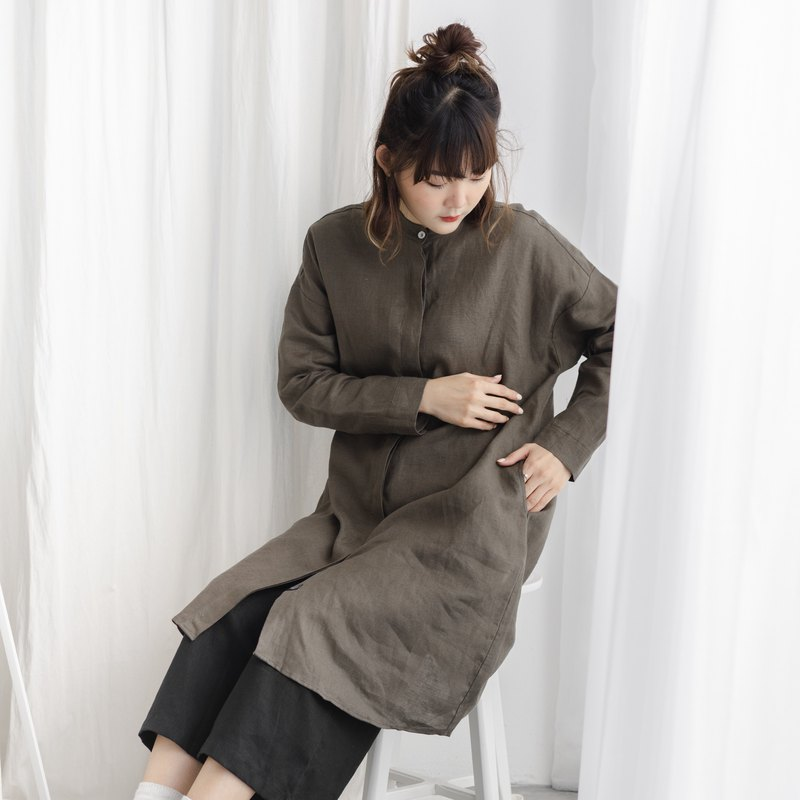Linen Mandarin Collar Long Sleeve Dress and Tunic - Seaweed Green
