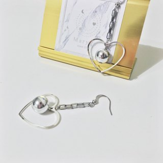 Marygo square chain hanging basket empty love ball. Silver earrings