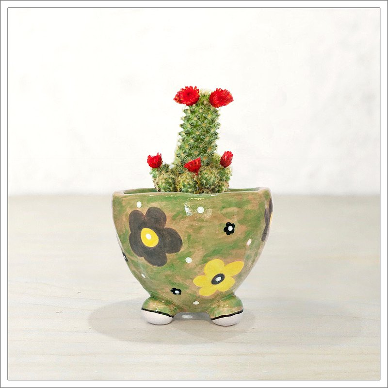 Hand pinched and painted ceramic pot, cute flowers in camouflage pattern