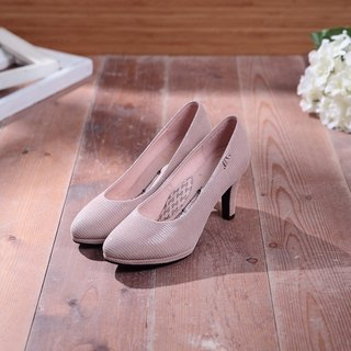 Bella-tempered brown-embossed sheepskin micro-pointed leather high heels