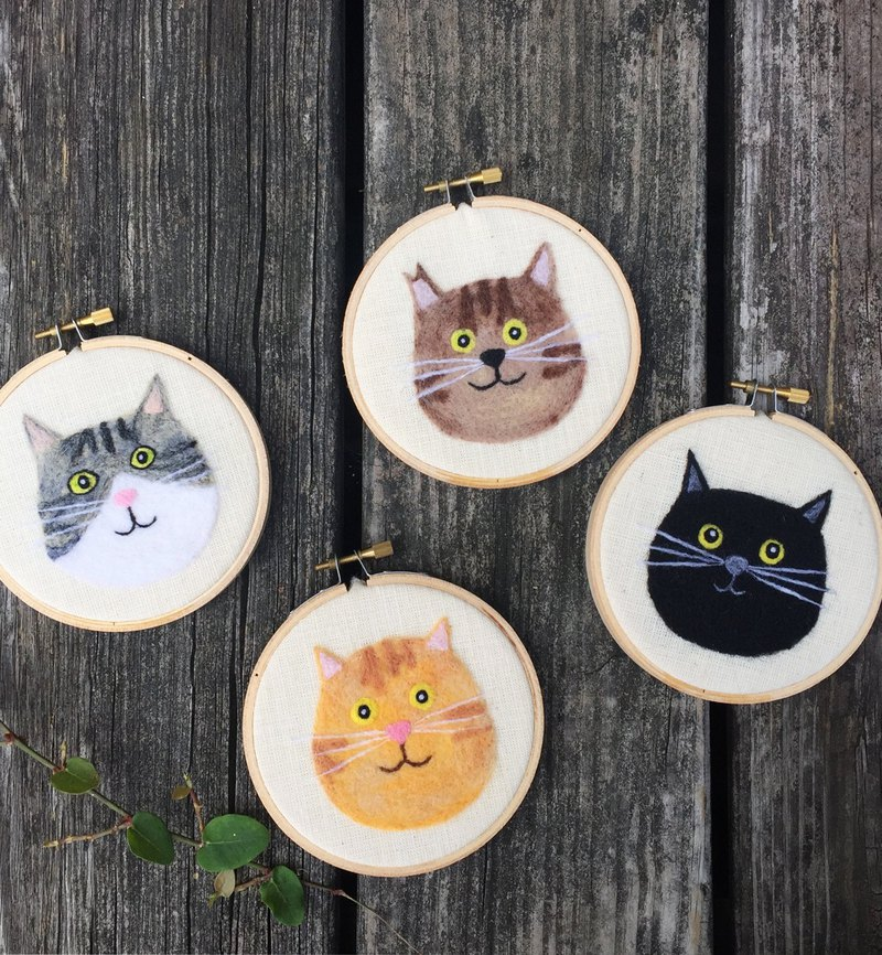 Wool felt embroidery - a complete set of cat friends