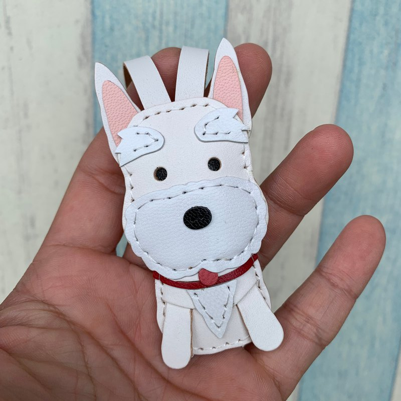 White cute schnauzer handmade sewn leather charm small size