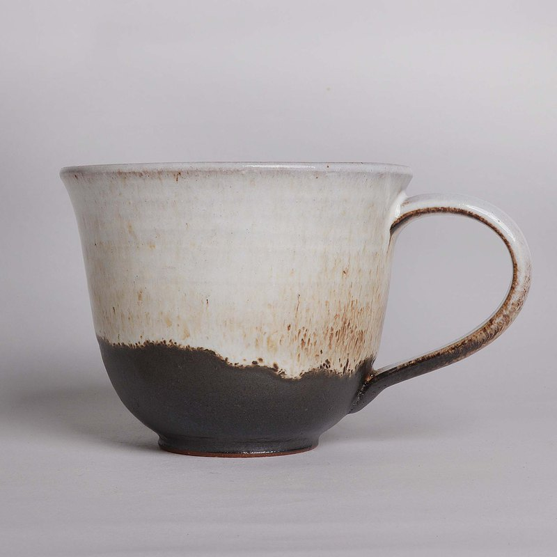 Mingyao Kiln Simple Black and White Enamel Glazed Coffee Cup