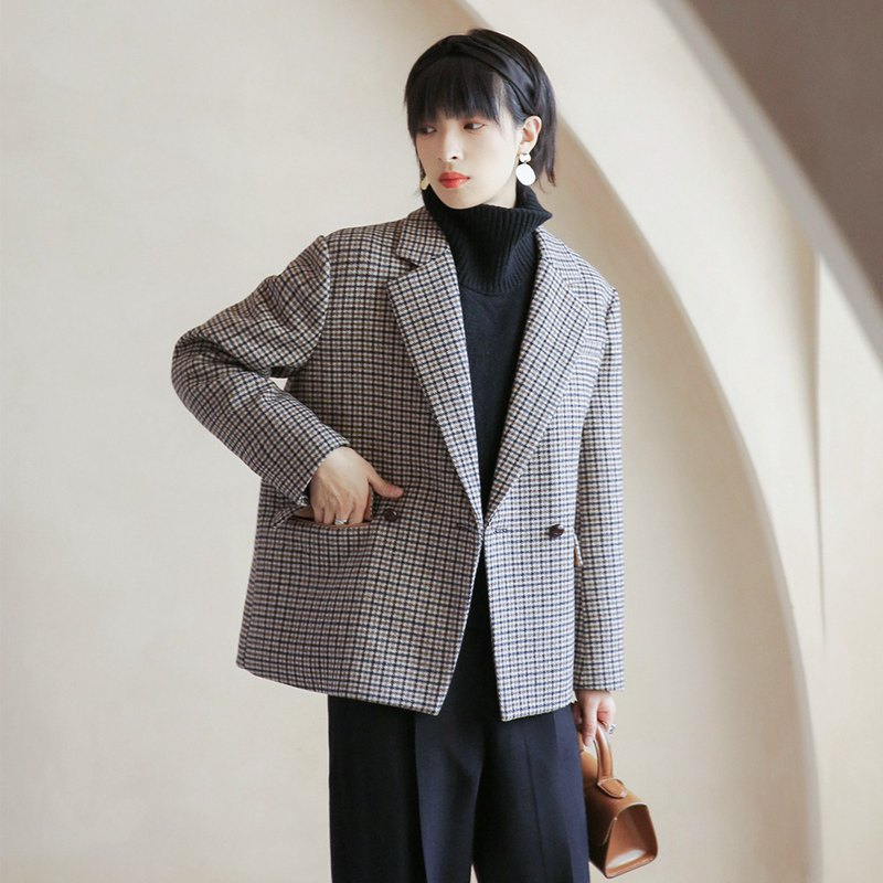 Houndstooth Double-Breasted Suit | Coat | Suit | Winter | Wool Blend | Sora-420
