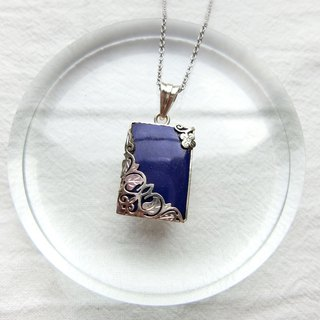 Lapis 925 sterling silver carved design necklace style 1