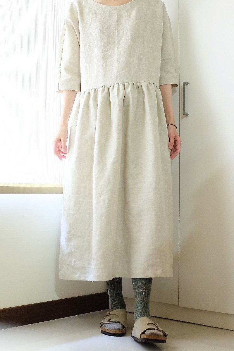 Daily hand-made clothes want to travel almond white six-point sleeves grab long dress linen