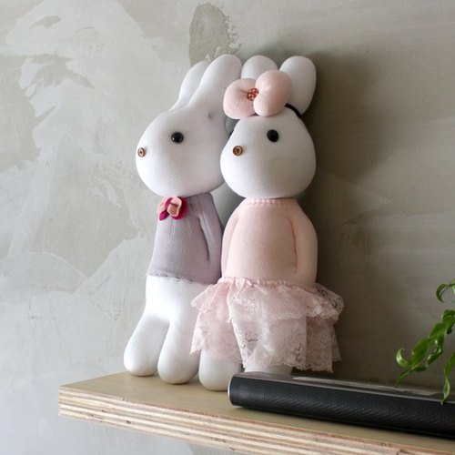 Handmade healing system - romantic young couple (male + female rabbit pink purple rabbit) design models