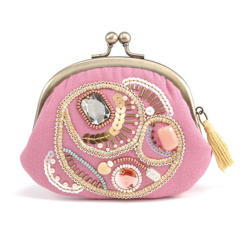 A wide opening tiny purse, coin purse, pill case, gorgeous pink pouch, No,11