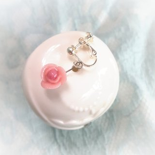 Pink rose earring / ear hook / ear clip (small)