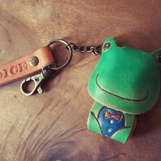 Gentleman cute little frog pure leather key ring - can be lettering