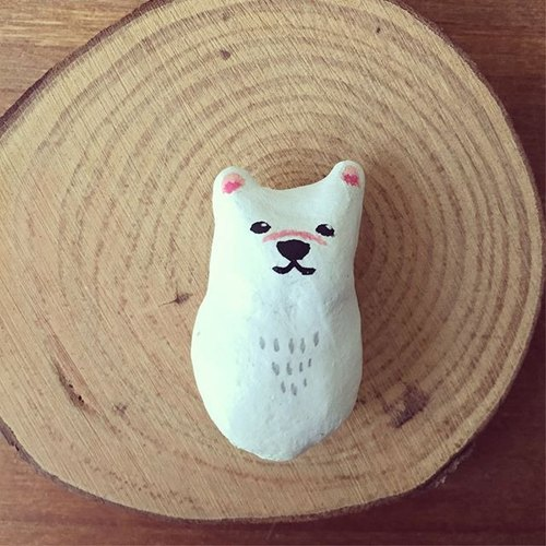 Polar bear / big white bear clay animal magnet