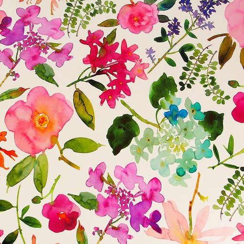 Imitation watercolor flower wrapping paper [Hallmark-wrapping paper]