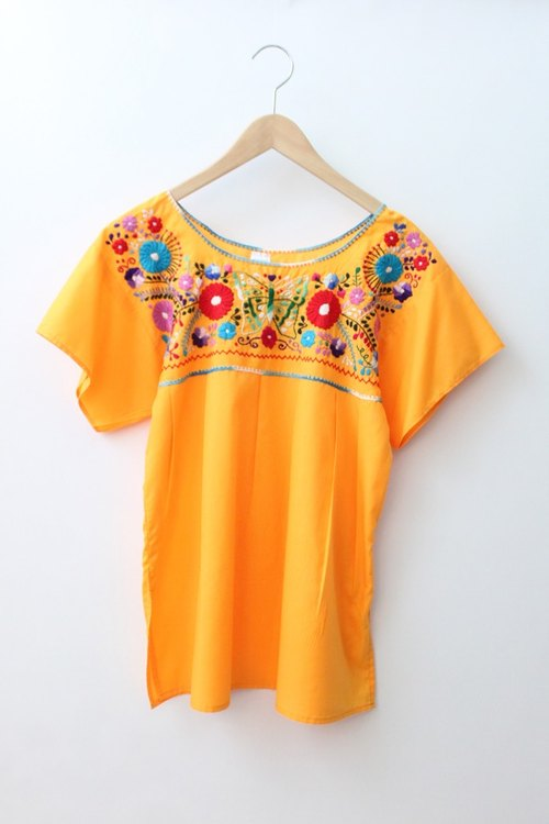 [] US Air RE0323MT05 bottom Mexican orange embroidered vintage blouse