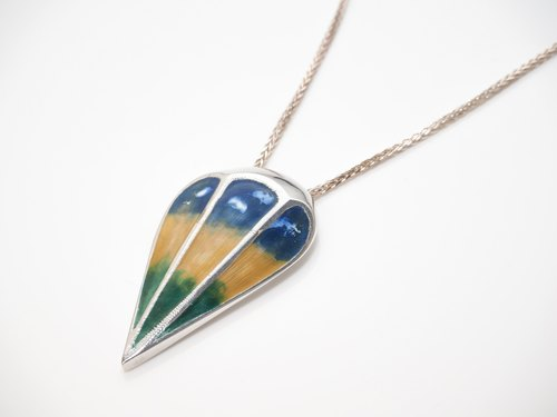 """Ping Design"" Goethe Geometric Triangle Sterling Silver Enamel Handmade Necklace Hot Air Balloon Jesus"