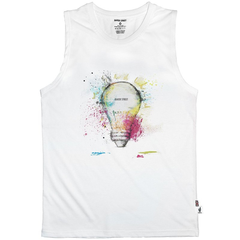 British Fashion Brand -Baker Street- Light Bulb Printed Tank Top