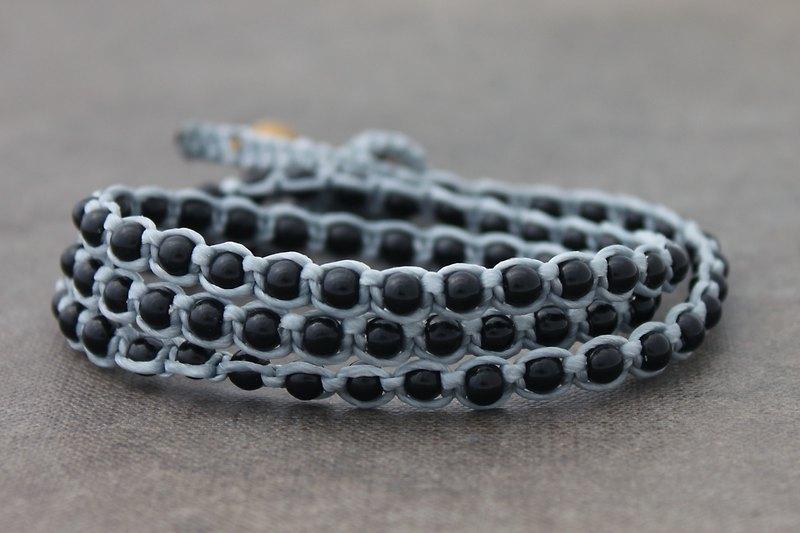 黑瑪瑙石串珠編織手鍊灰色棉麻麻手鐲
