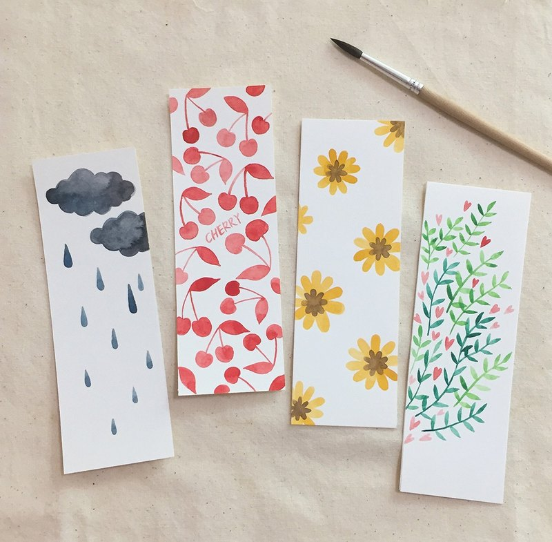 Cute exclusive hand-painted watercolor bookmarks non-printing couple friends gifts plant cloud rain cherry leaves