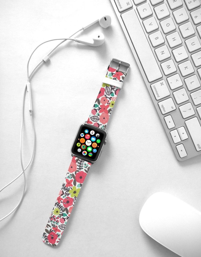 Pink flower floral leather Apple Watch Band 38 40 42 44 mm Series 5 4 009
