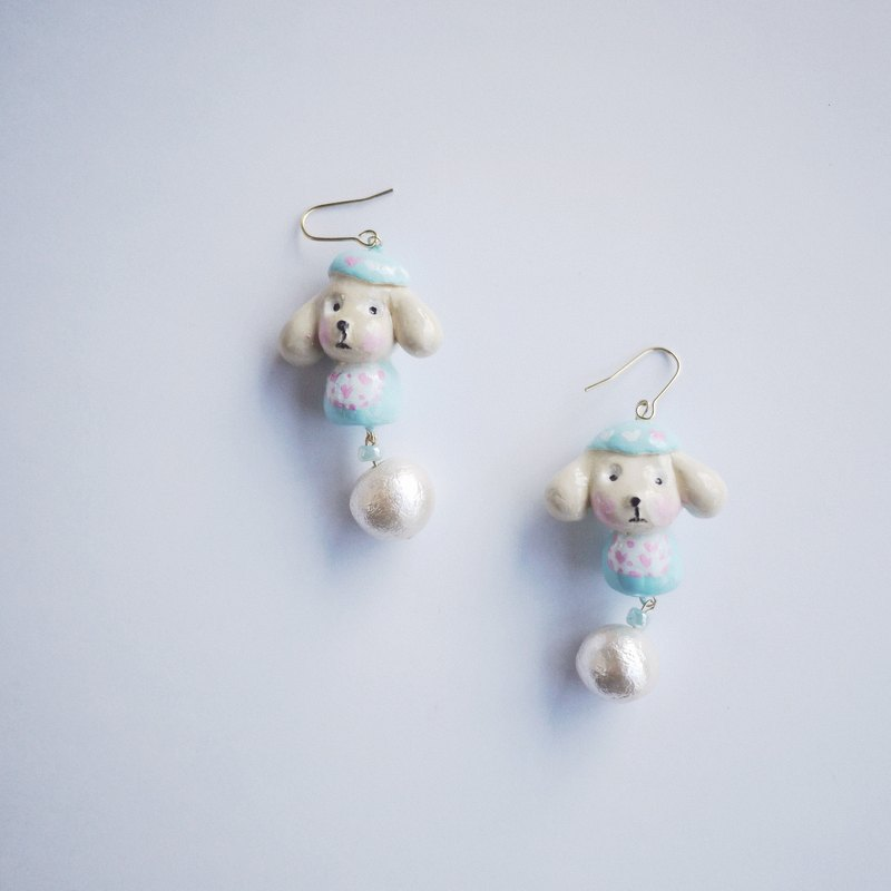Clay earrings cute animal dog Teddy earrings ear hook