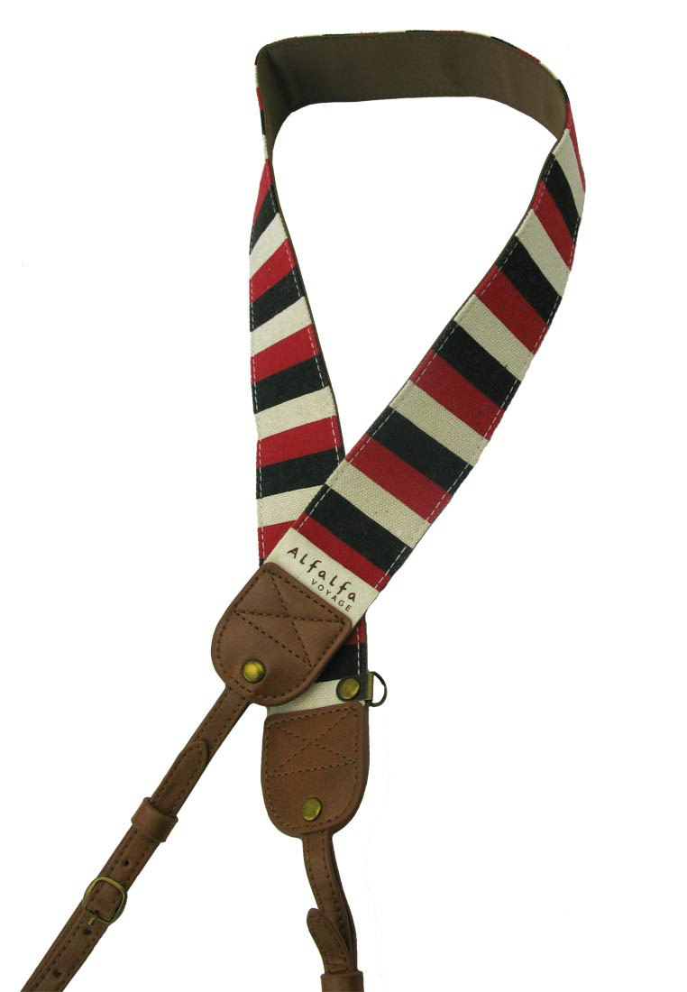 Travel camera neck strap (French stripes / black red and white stripes)