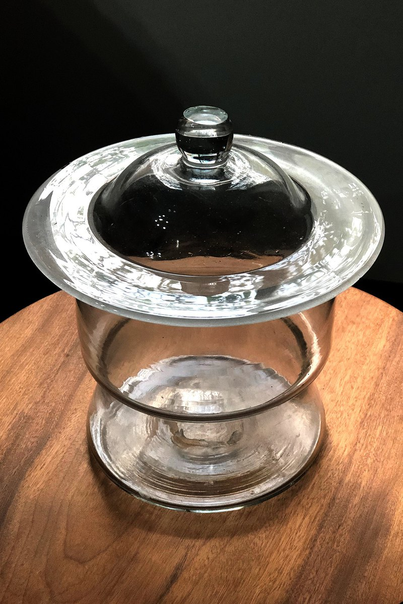Large lid round glass jar