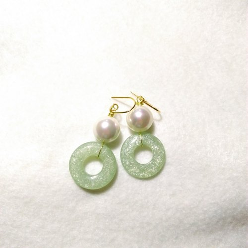 [LeRoseArts] Belle Perle series Handmade Earrings - Aventurine donut shell pearl earrings