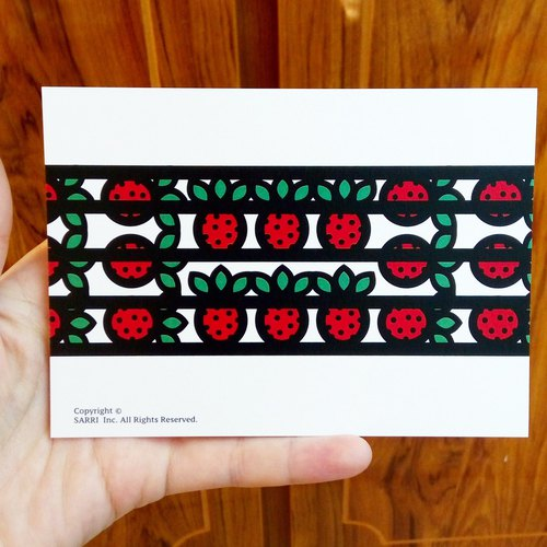 """Strawberry"" Postcard Birthday Card Design Coloring Illustration Photo Album Card Universal Card Art Art Modern Lovers Love Special Interesting Strange Weird Cute Taiwan Yellow Fun Funny Eye-catching Tale of Art Sequins Dazzle Cool Not Famous Bra"