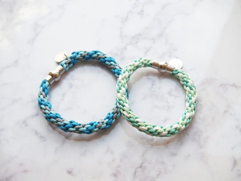 Hand-woven blue green lucky twist twist couple hand rope
