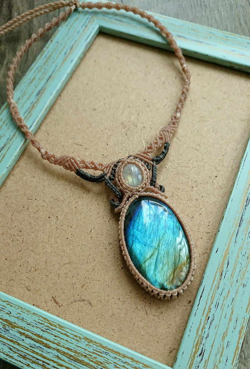N109 Bohemian South American wax line braided labradorite moonstone necklace clavicle chain necklace