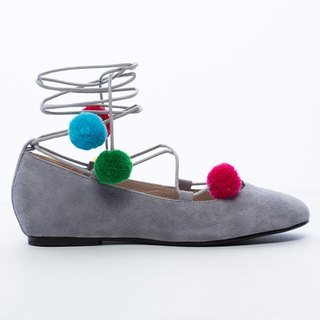 [Saint Landry] LAND colorful pompons strap ballet shoes - gray lilac