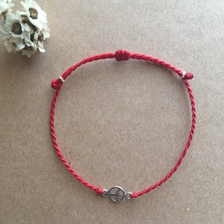 ~ M + Bear ~ peace / blessing red bracelet / wax wax / silver / braided bracelet / 925 silver bracelet / ankle